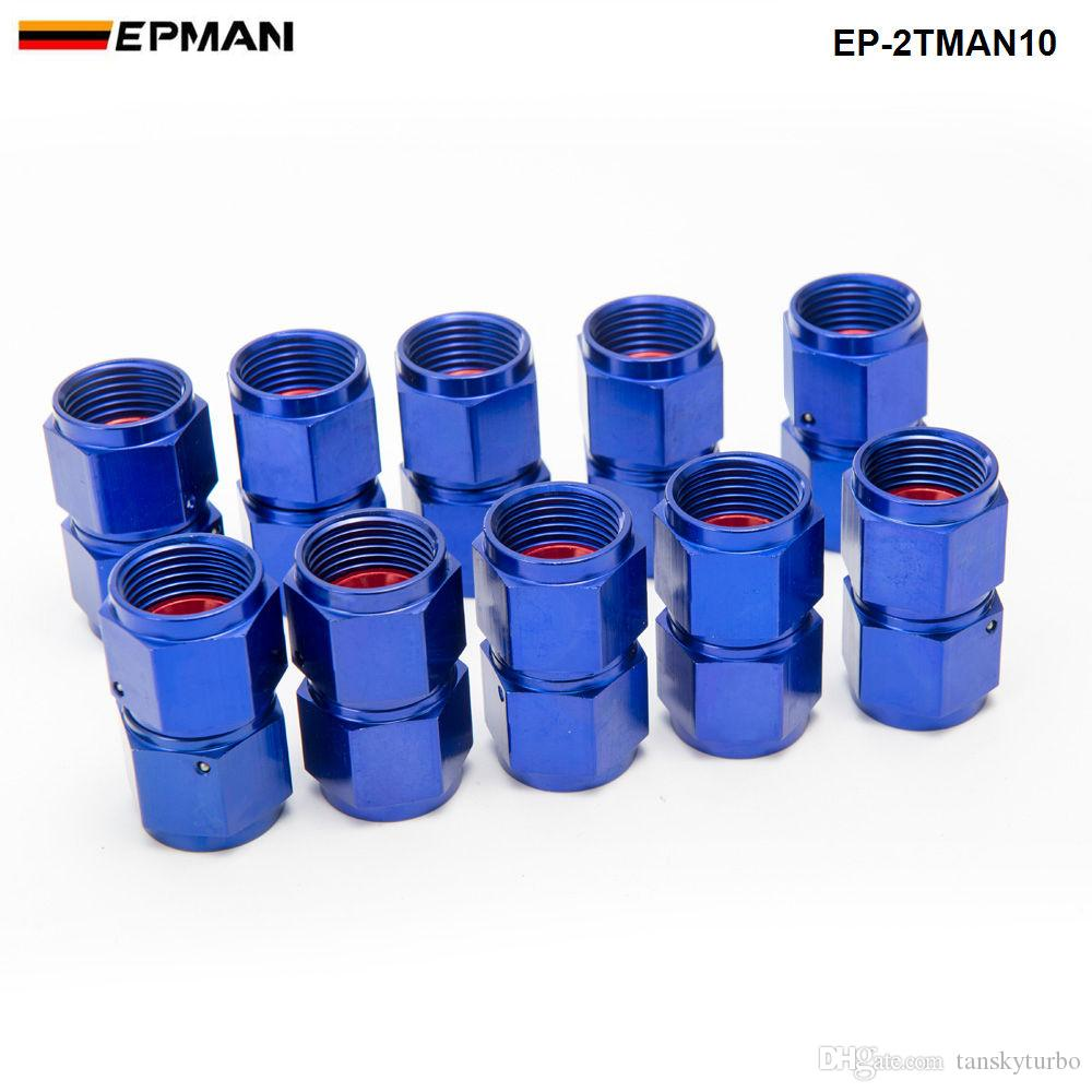 Blue AN10 Anodized Aluminum Oil Line/Hose End Fitting 2 Side Female Fitting EP-2TMAN10