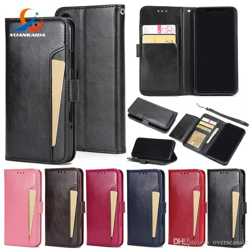 For Iphone X 8 7 Plus 6 6S Crazy horse Skin Book Style Flip Leather Wallet Case Soft TPU Back with Card Cover