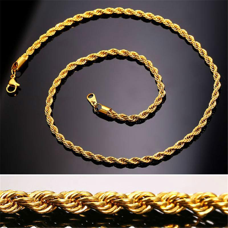 c60dd139b136 Compre 18 K Oro Real Chapado En Acero Inoxidable Collar De Cadena De Cuerda  Para Hombres Cadenas De Oro Joyería De Moda Regalo KKA2037 A  3.02 Del  Joachim ...