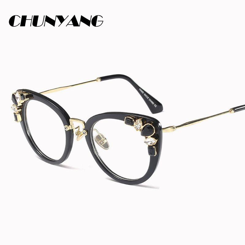 2018 Crystal Diamond Cat Eye Glasses Frames Women Trending Styles ...