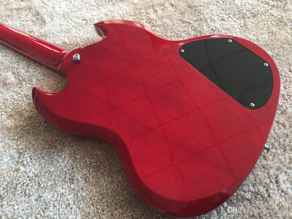 SG bass guitar Wine red color 4 STRING left hand version SG electric bass guitar Set in neck rosewood fingerboard