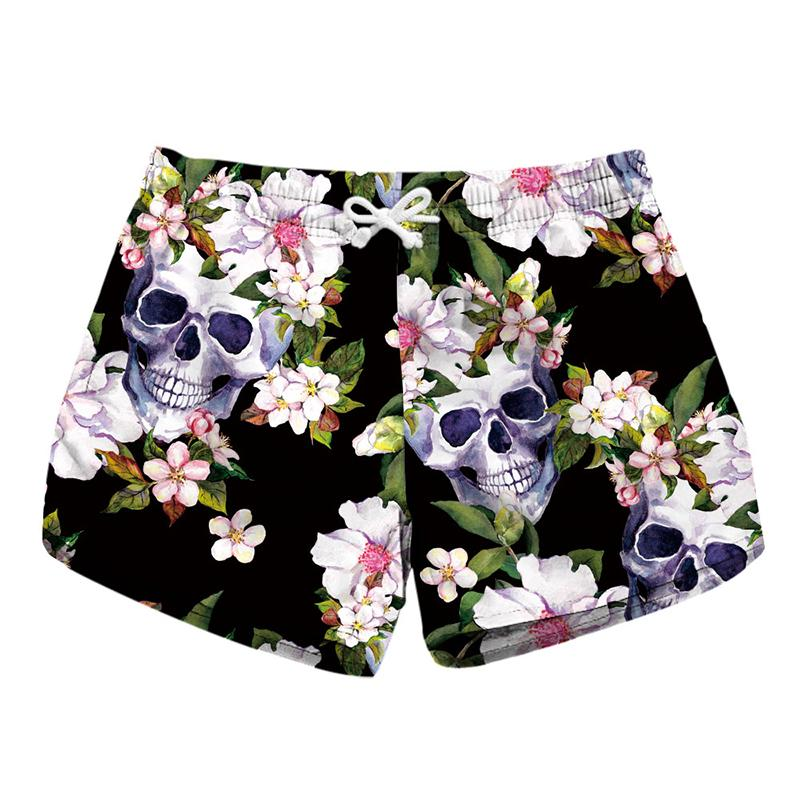 9c491c8306 2019 Women Short Beach Shorts Skull Flower 3D Full Print Girl Casual  Swimming Shorts Lady Digital Graphic Beach Pants Boardshort RLLbp 6026 From  Joybeauty, ...