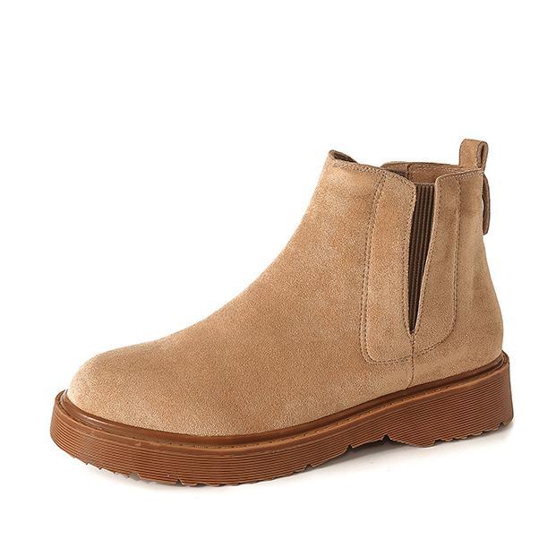 0724399036 Compre Botas Bajas Para Mujer Botines Con Punta Redonda Botas De Cuero  Martin Zapatos Cálidos De Invierno A  46.15 Del Karinton
