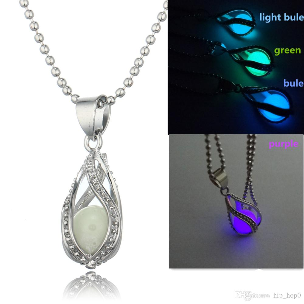 Luminous Necklace Hollow Water Drop Pendant Necklace Opened Locket DIY Jewelry Glow In the Dark Necklaces for Women Girl Choker Collares