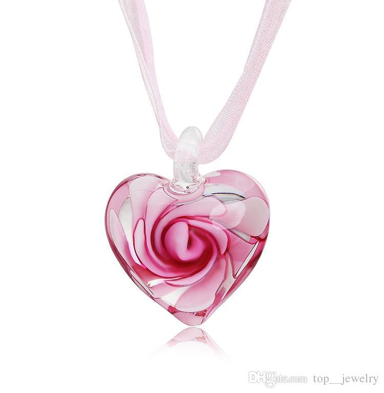 Wholesale Beautiful Heart With Flowers Inside Lampwork Murano Italian  Venetian Glass Fashion Pendants Necklaces Handmade Fashion Jewelry Blue  Pendant ...