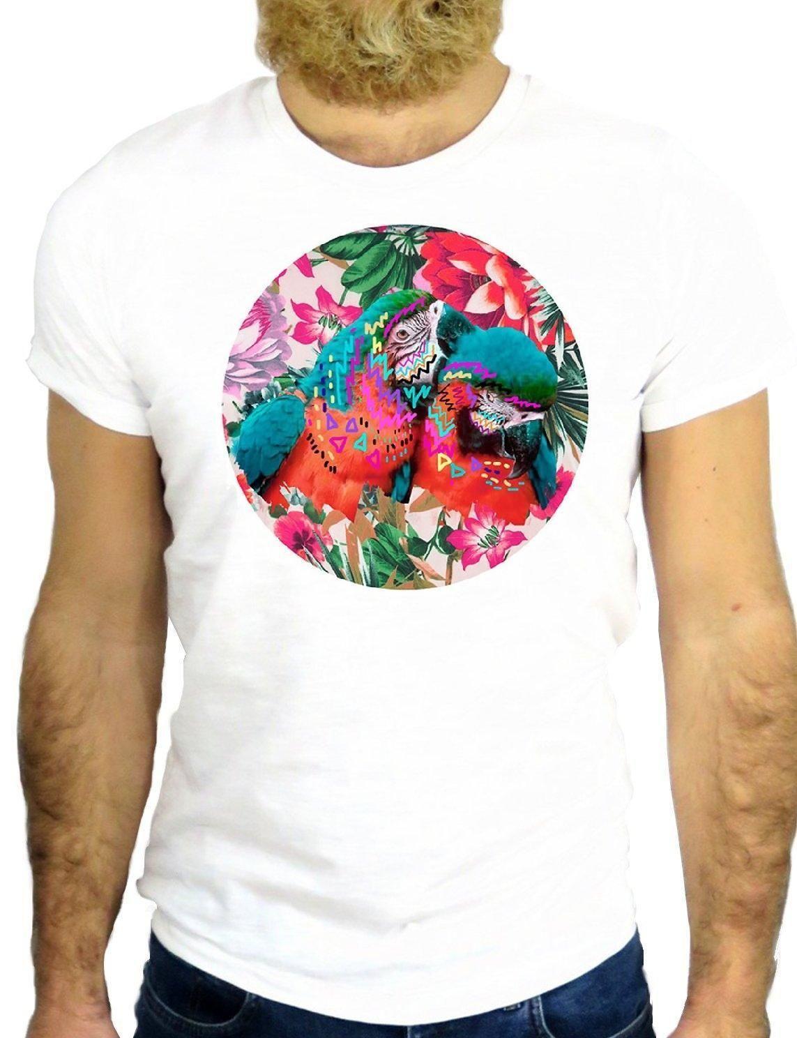 Color Bird Camiseta Parrot Flor Nice Z2459 Cool Compre deBroCx