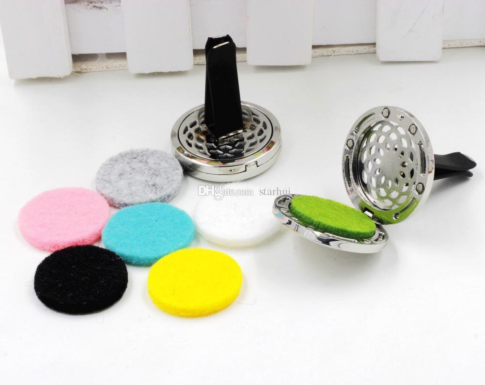 Auto Parfüm Clip Hause Ätherisches Öl Diffusor Für Auto Medaillon Clip 30mm Edelstahl Auto Lufterfrischer Klimaanlage Vent Clip WX9-296