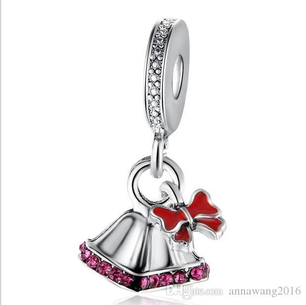 Serve para pandora pulseira de prata esterlina bowknot jingle bell beads encantos para cobra europeia charme cadeia de moda diy jóias atacado