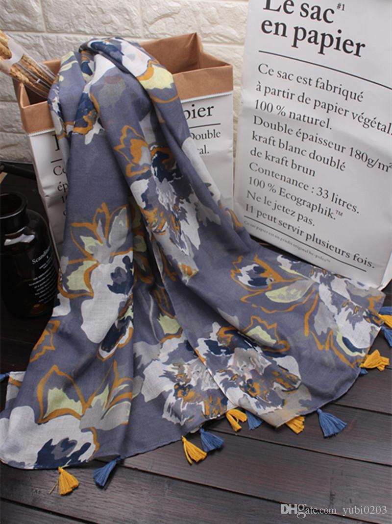 새로운 중국 스타일의 복고풍 꽃 패턴 인쇄 잉크 면화와 린넨 스카프 패션 야생 해변 들어 갔어 목도리