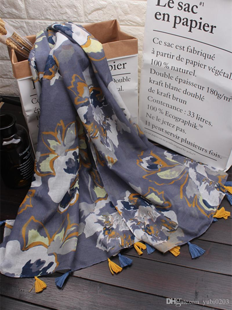 The new Chinese style retro flower pattern printing ink Cotton and linen Scarf fashion wild beach sunscreen shawl