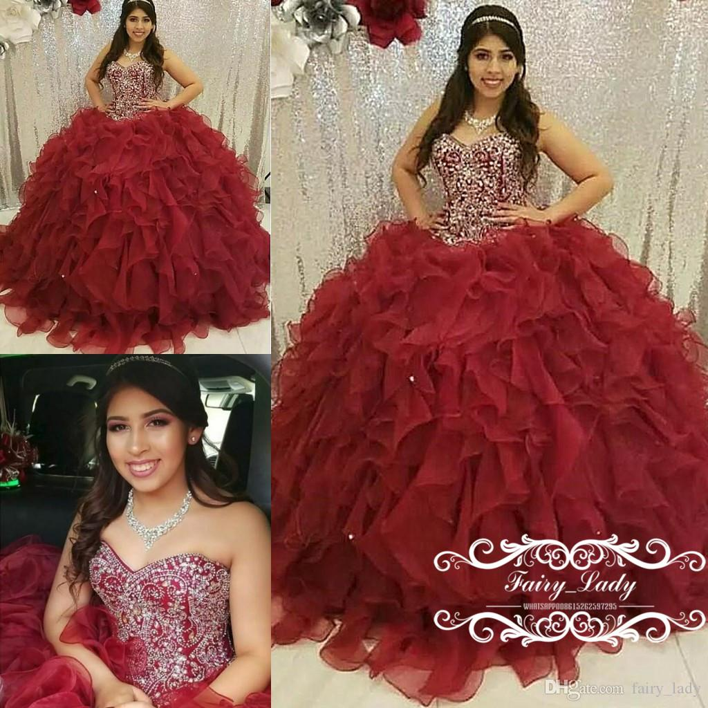 24a78c20a18 Burgundy Organza Tiered Cascading Ruffles Quinceanera Dresses Pageant 2018  Bling Silver Rhinestone Ball Gown Sweet 16 Dress Prom For Girls Dress  Quinceanera ...