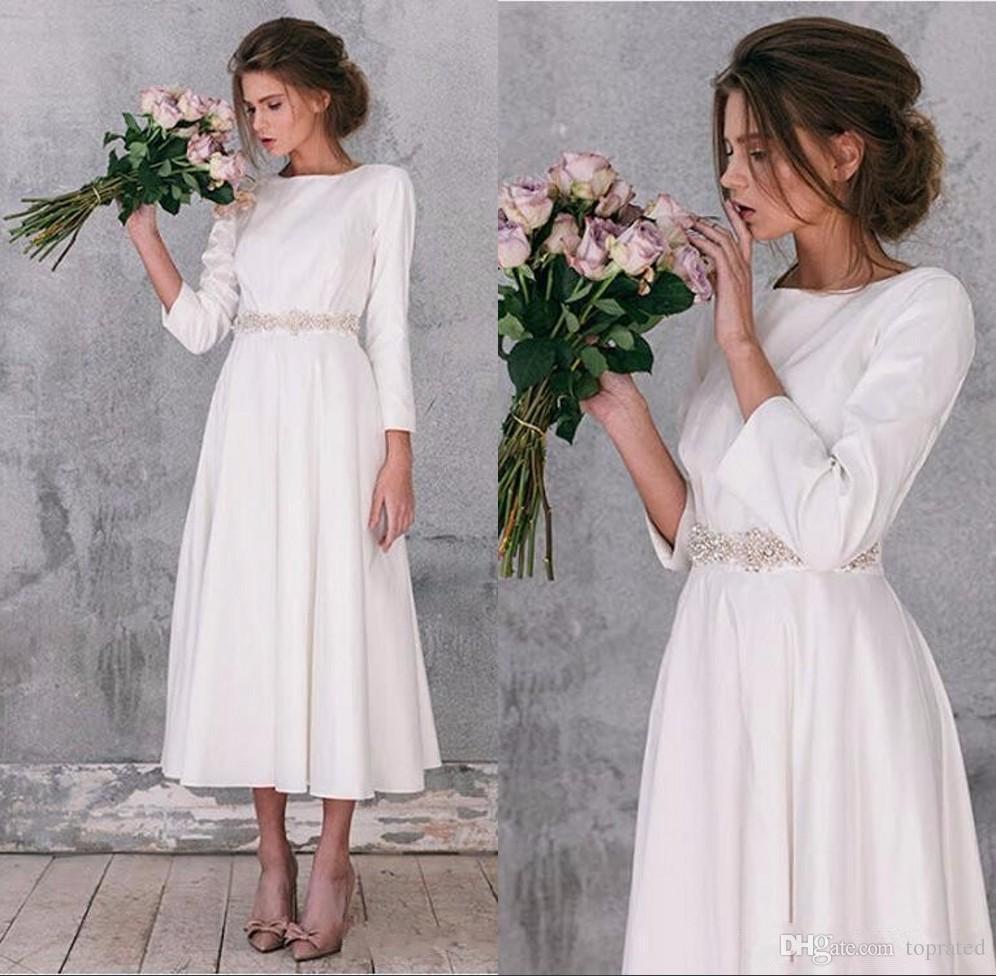 2019 Elegant Long Sleeve Wedding Dresses Vintage A Line Tea Length Gorgeous Simple Bridal Gowns Robe De Mariage Plus Size Wedding Party Gown