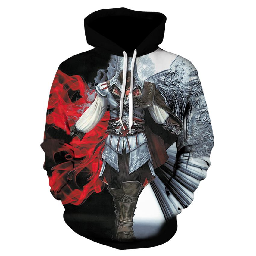 2db433a492d3 2018 Assassins Creed Men 3d Print Hoodies long Sleeve Tops fashion black  flag game Hoodies hidden blade tops plus size