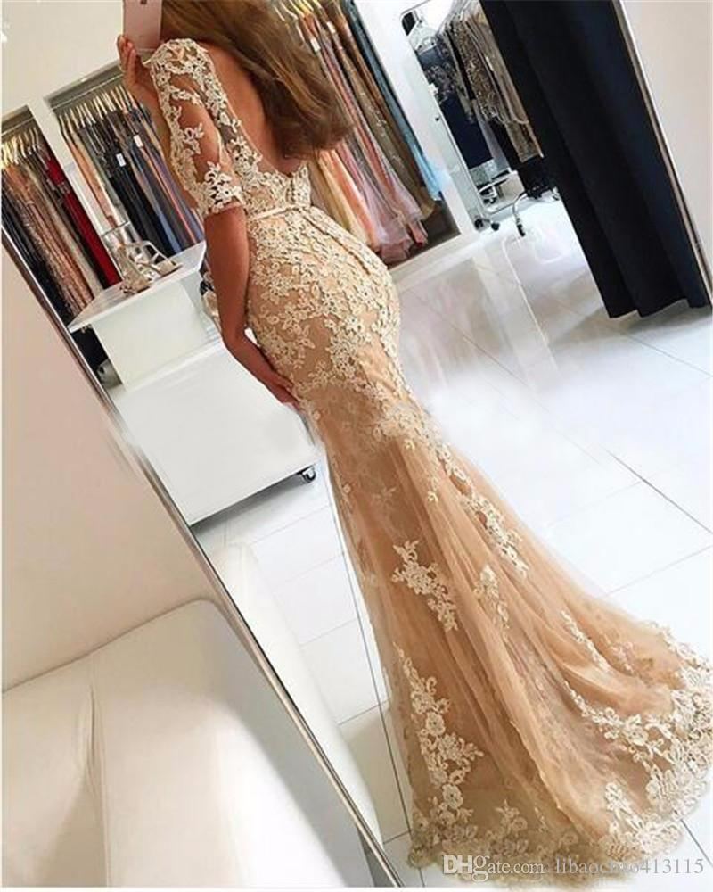 2018 Champagne tulle dress lace mermaid wed dress backless Sexy cheap long sleeve prom dress organza quinceanera prom party gown
