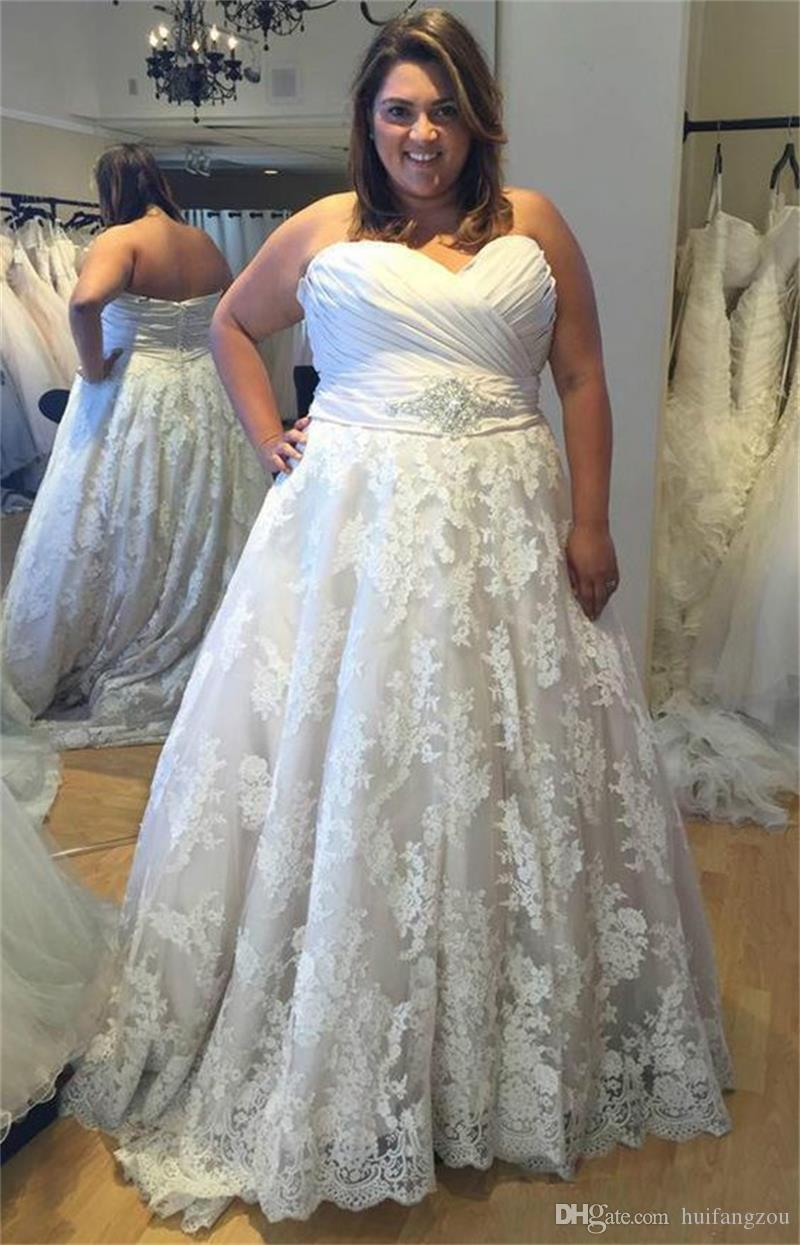 Modest Plus Size Oleg Cassini ALine Wedding Dresses With Crystal Belt Sweetheart Neck Floor Length Cheap Simple Lace Applique Bridal Gowns
