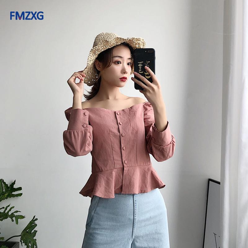 d6ccb801fc284 2019 Vintage Chiffon Blouse Shirt 2018 Cold Shoulder Ruffles White Long Tops  Women Puff Sleeve Summer Peplum Pink Chemise Top Blusas From Ceciliasa