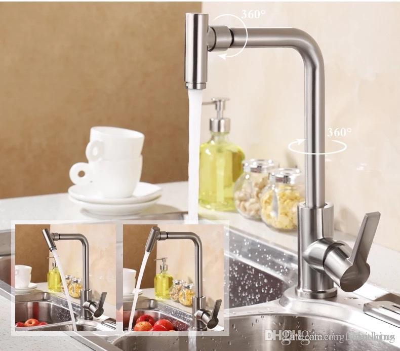 kitchen faucet single handle mixer swivel 720 degree spout stainless rh dhgate com
