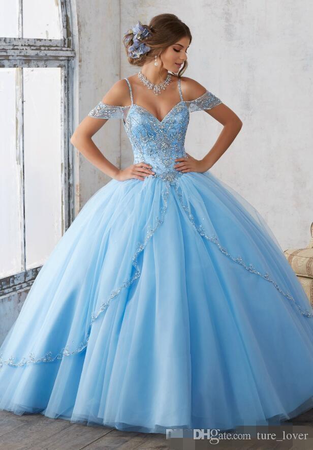 2019 Licht Sky Blue Ballkleid Quinceanera Kappen-Hülsen-Spaghetti mit Perlen verziert Kristallprinzessin Abschlussball-Partei-Kleider für Bonbon-16 Mädchen