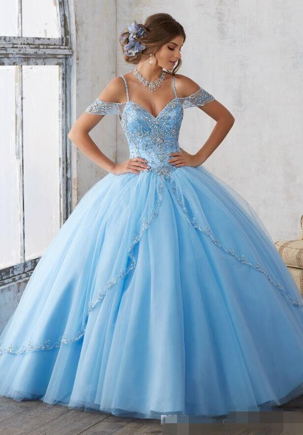 2019 Светло-Голубой Бальное Платье Quinceanera Платья Cap Рукава Спагетти Бисероплетение Кристалл Принцесса Пром Платья Для Сладких 16 Девочек