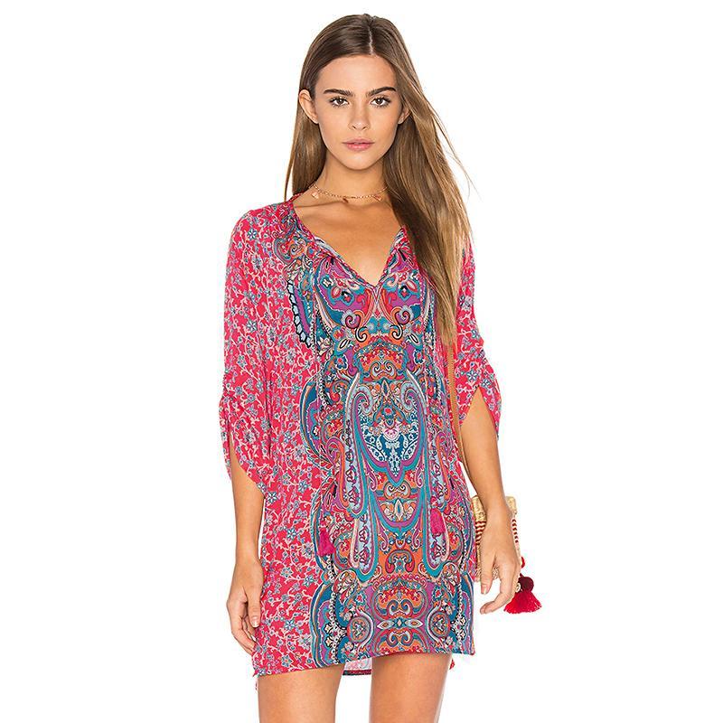 21c4d8e7449 Boho Women Retro Chiffon Dress Floral Paisley Print Tassel Shirred 3 4  Sleeve Summer Beach Dress Loose Mini Beach Holiday Wear Dress Women Floral  Sundress ...