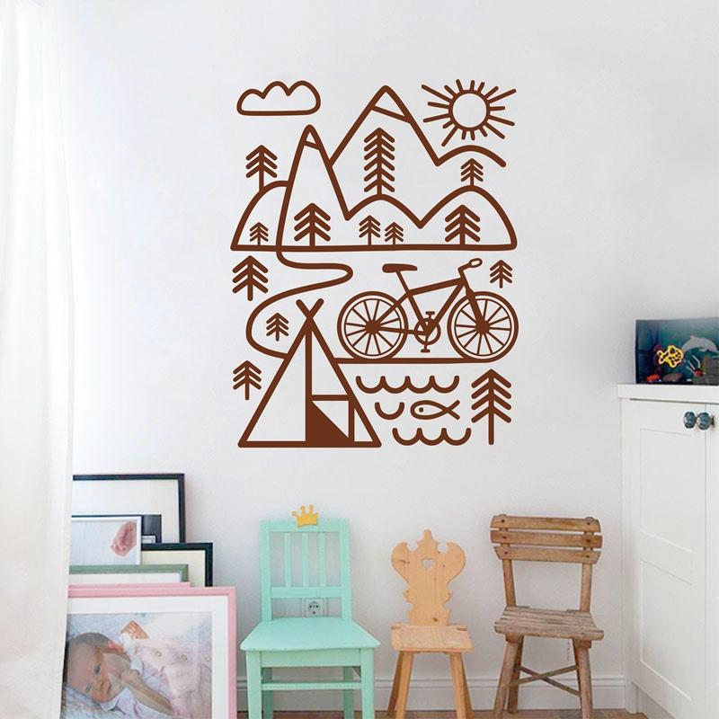 cycling mountain bike wall decal outdoors art vinyl wall sticker