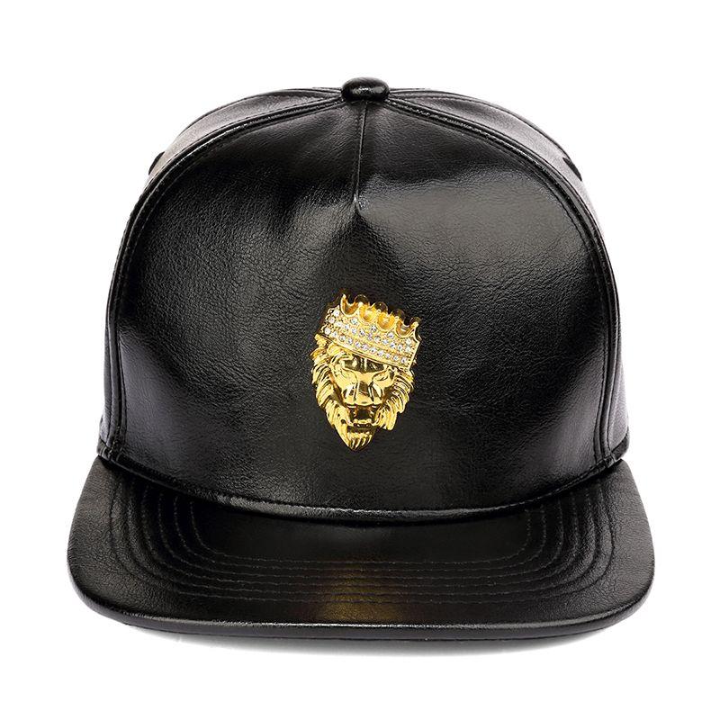 40c262df2b2 NYUK Mens Luxury Adjustable PU Leather Gold Rhinestone Crown Lion Head  Baseball Caps Black Snapback Hats Men Women Hip Hop Cap Trucker Hats  Flexfit From ...