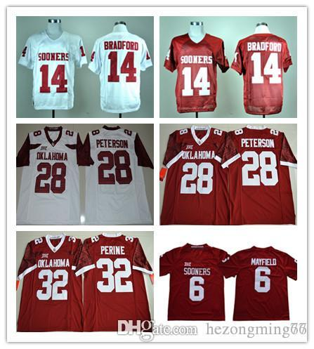 7e43179ded5 2019 NCAA Oklahoma Sooners College 6 Baker Mayfield Jersey 14 Sam Bradford  28 Adrian Peterson 32 Samaje Perine Football Jerseys From Hezongming77