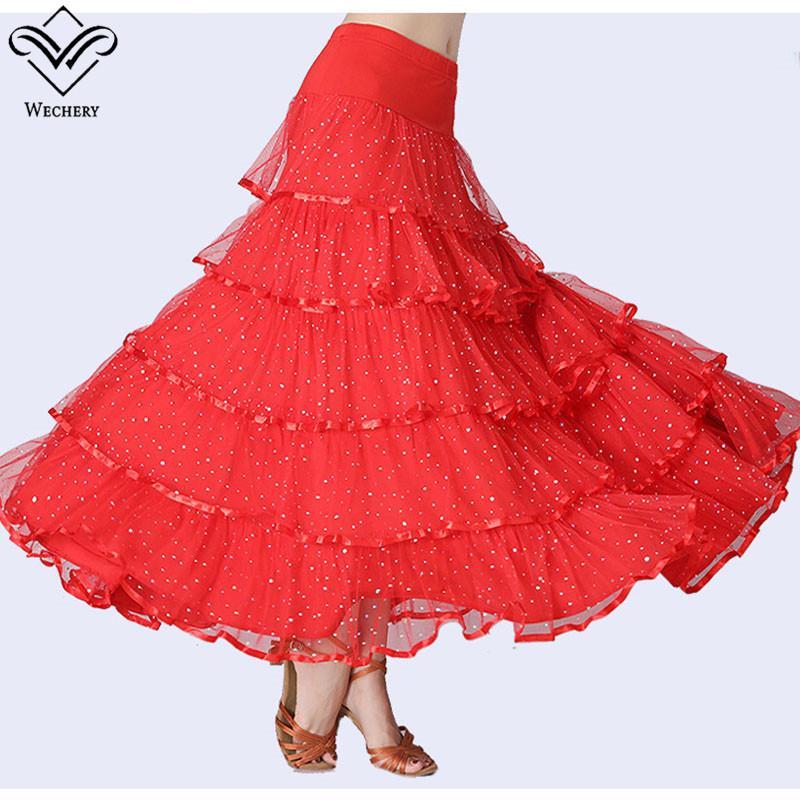 df3c8bc7ee Compre Wechery Faldas De Salón Con Lentejuelas Flamenco España Faldas De  Baile Para Mujeres 2018 Nuevas Volantes De Encaje Con Elástico Largo Danza  A  40.94 ...