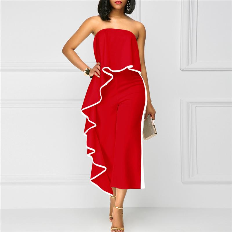 2c880fa3cb0 2019 Womens Jumpsuit 2018 Cute Sexy Rompers Red Womens Summer Bodysuit  White Casual Jumpsuits Ruffles Rompers From Bailanh