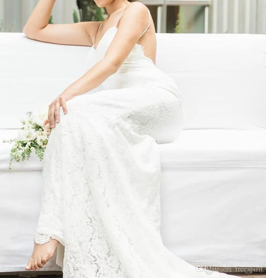 Mermaid Drop Waist Wedding Dress Lace Spaghetti Strap V-Neck Low Back Bride Gown Backless Sexy Custom Made