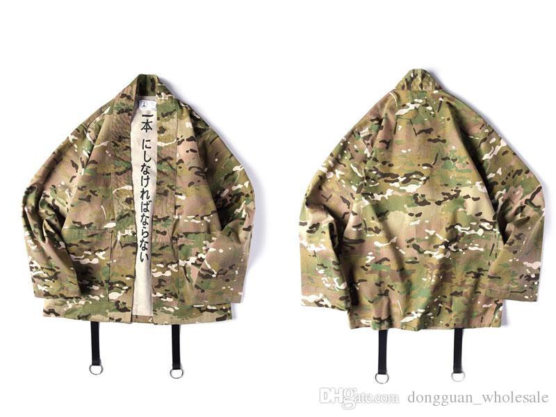 Japanese Camo Kimono Jackets Japan Style Mens Hip Hop Camouflage Casual Open Stitch Coats Fashion Streetwear Jacket