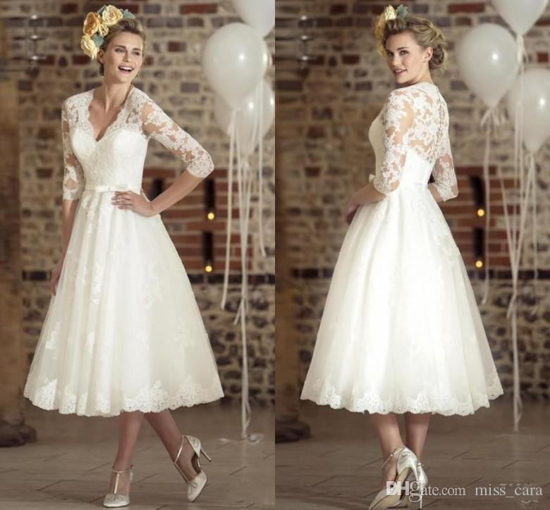 Vintage Three Quarter Length Wedding Dresses: Discount 2018 Vintage Deep V Neck 1950'S Lace Wedding