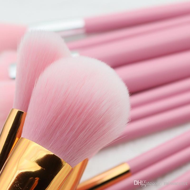 10 шт. Кисти для макияжа Набор розовой деревянной ручки EyeShadow Foundation Ресницы Кисти для макияжа Косметические кисти Наборы maquiagem