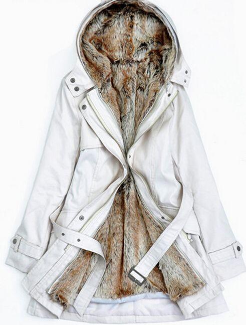 2014 Faux Fur Women Hooded Ladies Long Jacket Winter Warm thick Cotton Coat Clothes Parkas winter cost s-3xl