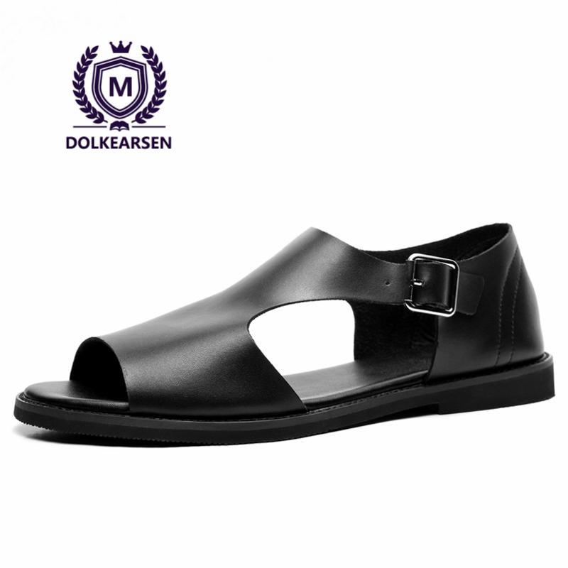 9c23c4c3148 DOLKEARSEN 2017 Summer Men S Sandals Leather Simple Black Comfortable Men  Beach Shoes Gladiator Open Toed Sandals Men T170005 Womens Sandals Sandals  For Men ...