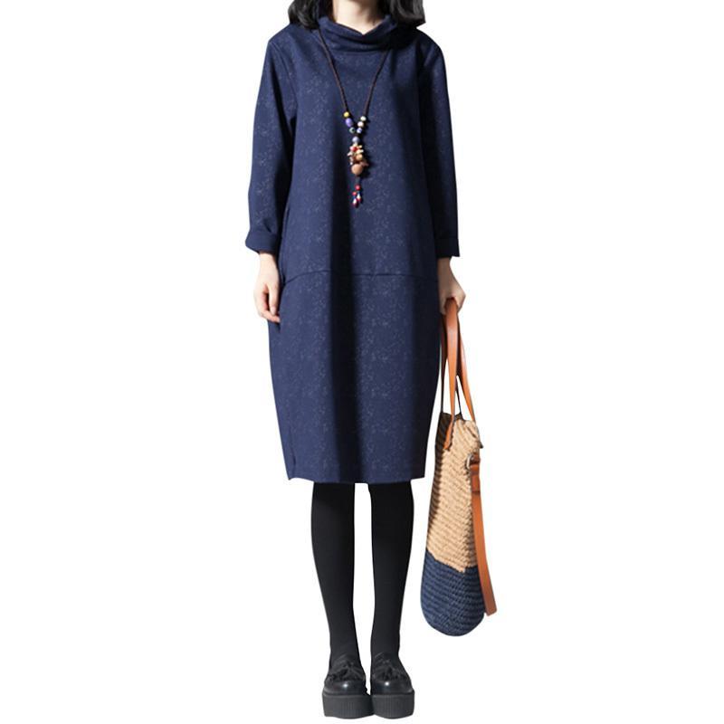 01fd970da078 Women Cotton Midi Dress Vintage Print High Neck Long Sleeve Korean Style  Dress Casual Loose Knee Length Autumn Winter Boho Dress Long Dress Women  Long ...