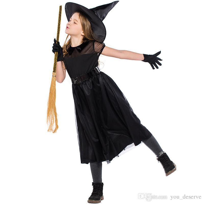 2018 new child witches costumes black dresses for girls cosplay halloween girl perfect dress up party clothing hot selling team halloween costumes office