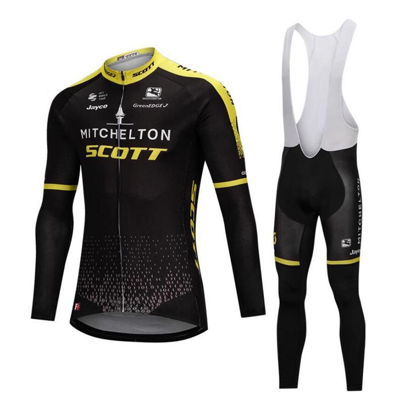 5af19ed23 Winter Thermal Fleece Scott Black Men s Cycling Jersey Sets Long ...