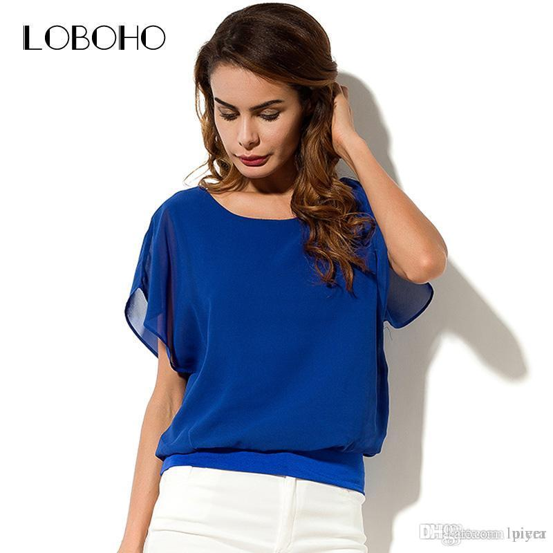 340af3394c8 Short Sleeve Chiffon Blouse Ruffle New Fashion 2018 Summer Tops And ...
