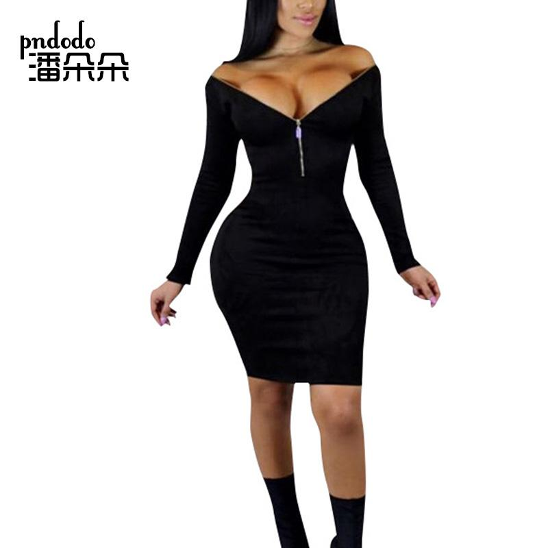 b2c0114ed0a5 2019 Pndodo Front Zipper Off Shoulder Dress Long Sleeve Women Black Mini  Dress Sexy Bodycon Slim Club Party Above Knee Short From Buxue