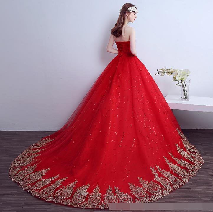 luxury wedding dress 2018 Vintage Lace Red Wedding Dresses Long Train Plus Size Ball Gown Robe de Mariee Cheap