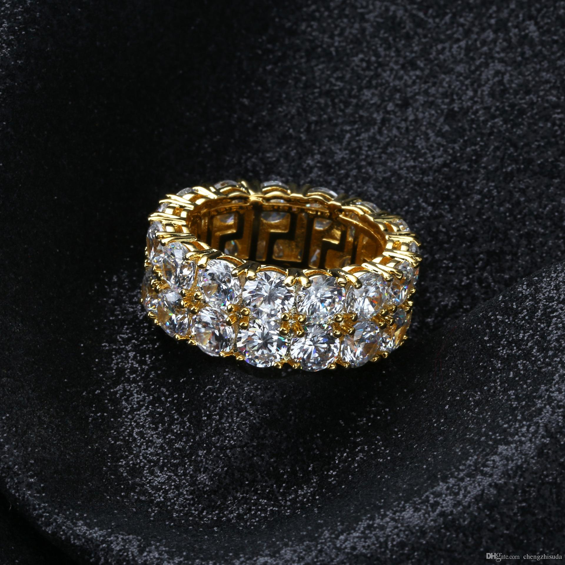 Size 7-12 Hip Hop 2 Row Round Solitaire Zircon Tennis Ring for Men Women Gold Silver Colors