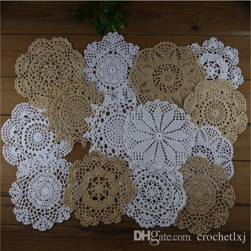 shabby chic vintage look heart crochet doilies white beige coasters rh dhgate com