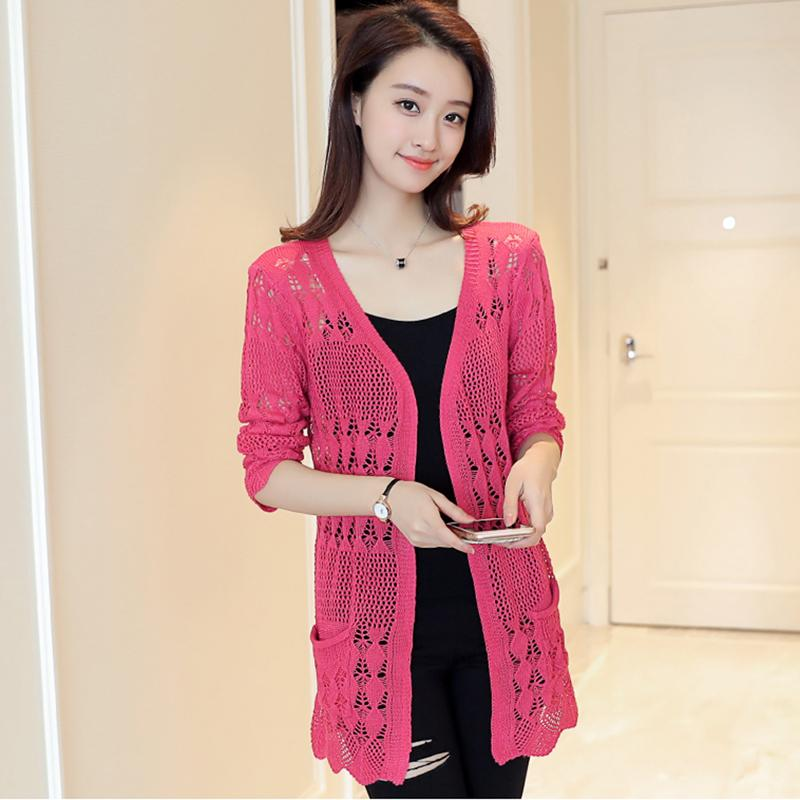 640207f3ec77 2019 2018 Long Ladies Crochet Tops Fashion Women Beach Cardigan Spring  Summer Hollow Out Knitted Sweaters Elegant V Neck Mujer Pocket From  Modleline, ...