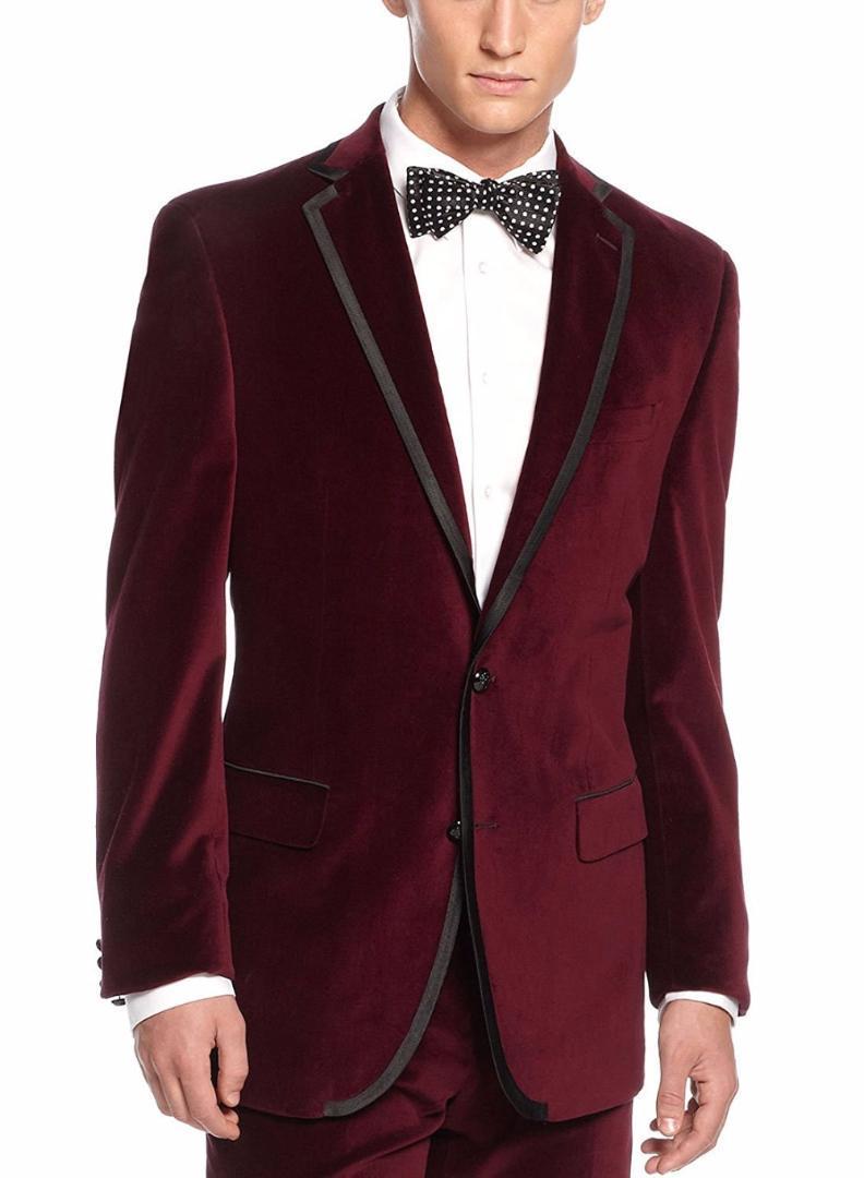 Acquista 2018 Abito Da Uomo In Velluto Bordeaux Rosso Bordeaux Con Bordo  Nero Taglio Classico Con Risvolto Smoking Da Uomo Giacca E Pantaloni Da Uomo  A ... 5e8b0525032