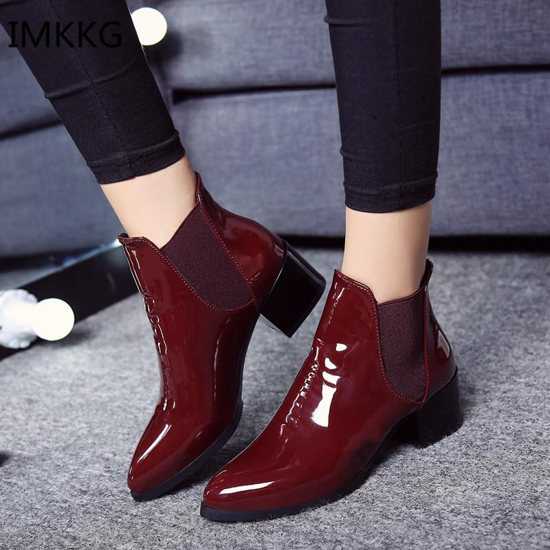 8ac3f1a2a Dwayne Autume Women Single Boots Square Heel Martin Ankle Boots Womens  Motorcycle Pointed Toe Zapatos De Mujer Botas Combat Boots Rain Boots From  Potatoo