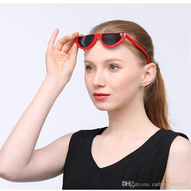 9145dc8e09 Cool Trendy Half Frame Rimless Cat Eye Sunglasses Women 2018 Fashion Clear  Brand Designer Sun Glasses For Female Oculos De Sol Cool Sunglasses Custom  ...