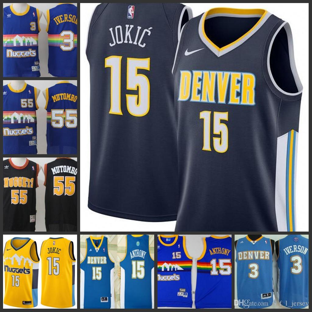 reputable site 04eed b2648 Denver Nuggets Men Jersey #3 Allen Iverson 55 Dikembe Mutombo 15 Nikola  Jokic 15 Carmelo Anthony stitching Jerseys