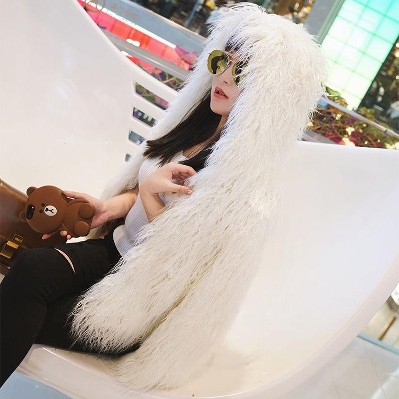 Nerazzurri Kunstpelz Jacke Frauen mit Kapuze Elegant verdicken Kunstpelzmantel Winter Kurz Weiß Shaggy Furry Fluffy Plüsch Streetwear