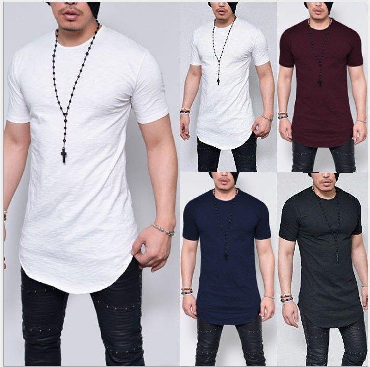 Manga corta Camisetas Nuevas marcas camiseta Hombre Algodón Cuello redondo Camisetas de moda Tallas grandes Camisa masculina Envío caliente Estilo largo y casual